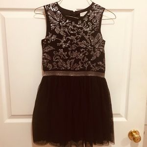 Black Toole Skirted Dress with sequin Bodice